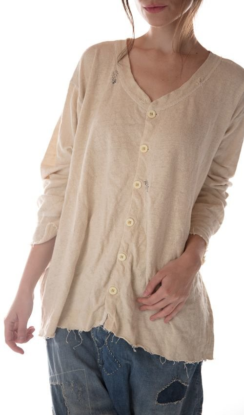 Woven Cotton Long John Cardigan with Mending and Distressing, Magnolia Pearl