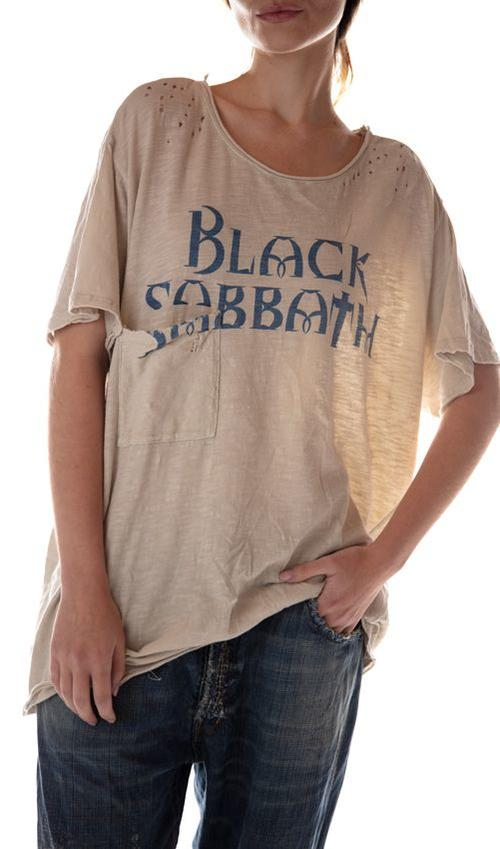Cotton Jersey Black Sabbath Pocket T, New Boyfriend Cut, Magnolia Pearl