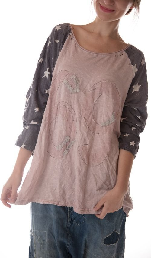 Cotton Jersey Bolt Lucky T with Three Quarter Sleeves, Magnolia Pearl