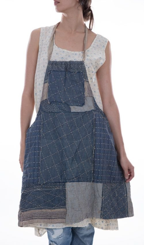 European Linen Beibhinn Apron Dress with Hand Quilted Patchwork, Four Work Pockets and Drawstring Waist
