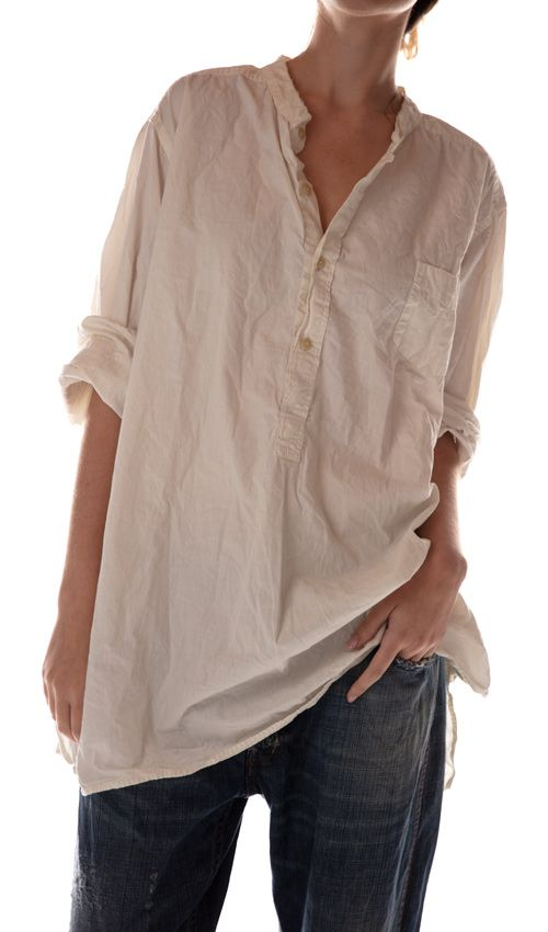 Cotton Poplin Idgy Mens Shirt with Pocket at Front and Distressing, Magnolia Pearl