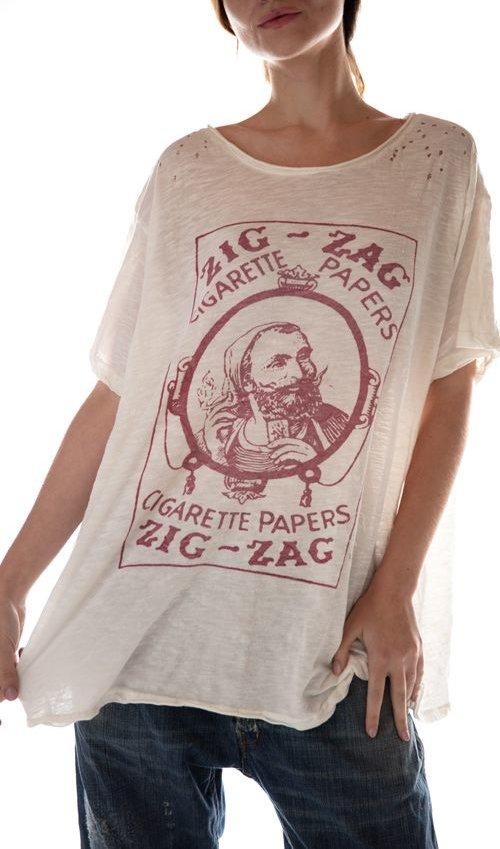 Cotton Jersey Zig Zag T, New Boyfriend Cut, Magnolia Pearl