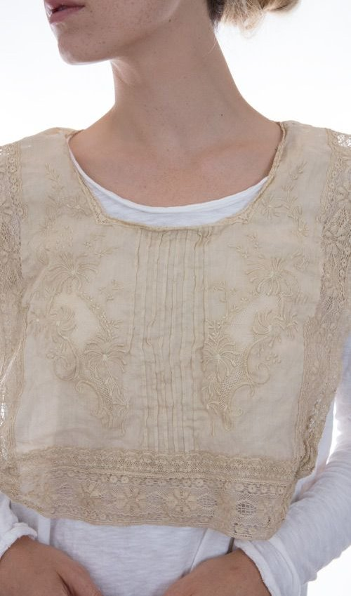French Cotton EETI-BELLE Collar with Coton Lace and Embroidery, Magnolia Pearl