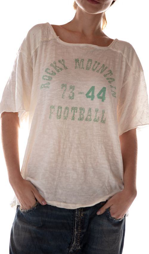 Cotton Jersey Rocky Mountain Football T, Magnolia Pearl