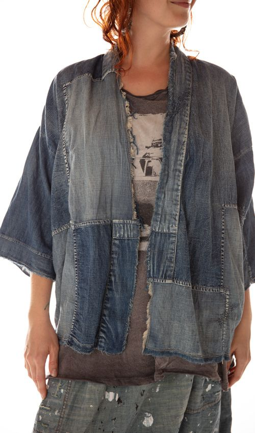 Cotton Denim Patched Noriyo Kimono Frock with Mending and Distressing, Magnolia Pearl