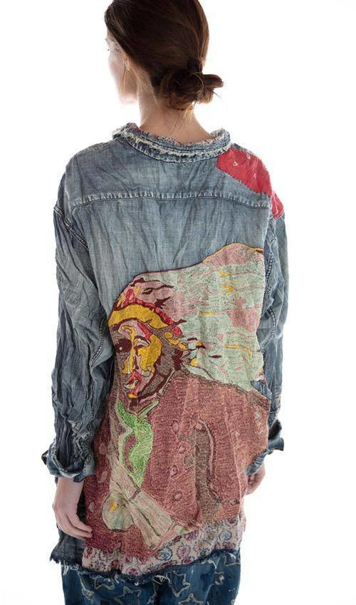 Cotton Denim Ceremony American Indian Embroidered Adison Workshirt with Mixed Buttons, Patches and Hand Mending, Magnolia Pearl