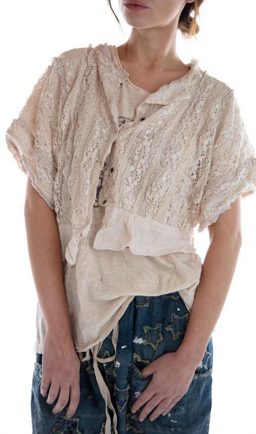 Cotton Lace Cropped Marburger Blouse with French Cotton Lining and Snaps at Back, Magnolia Pearl