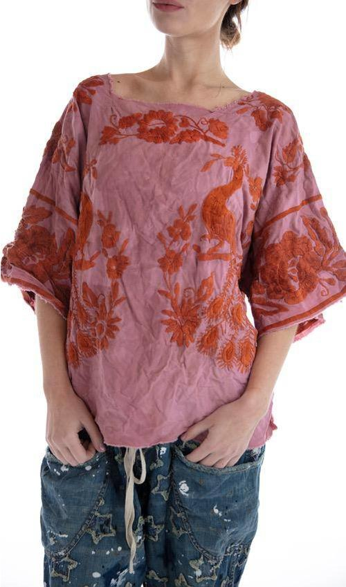 Woven Cotton Matilde Hand Embroidered Blouse with Fading, Distressing and Raw Edges, Magnolia Pearl