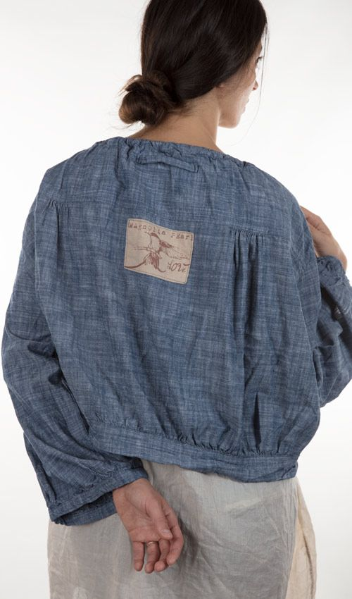 Cotton Chambray AnaKarina Crop Top in Light Chambray