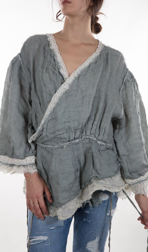 Linen Lined Heather Wrap Top In Thunder Cloud and Ivory
