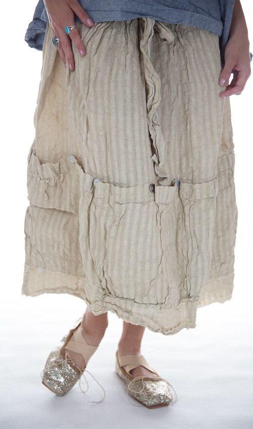 Linen Stripe Vergie Skirt with Tie in Honey Comb