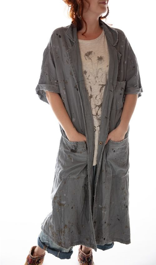 Cotton Twill Workshop Coat with Cropped Raw Sleeve, Mending and Distressing, Magnolia Pearl