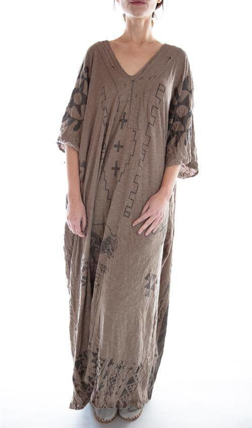 Cotton Jersey Native Art Veda Kaftan with Distressing and Mending, Magnolia Pearl