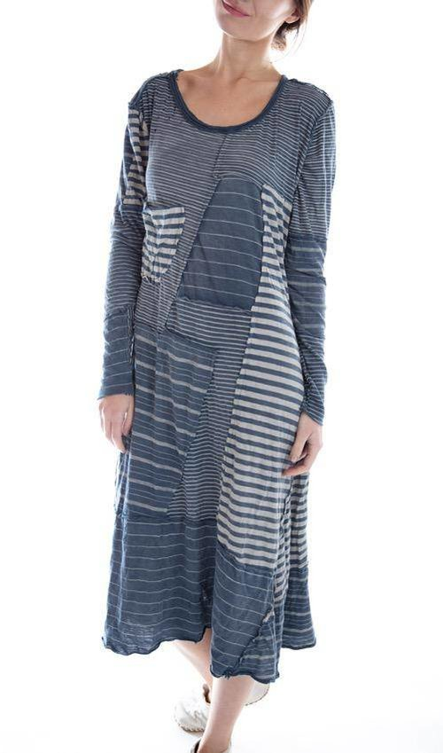 Cotton Jersey Patched Linear Sofiane T Dress with Pocket with Fading and Distressing, Magnolia Pearl