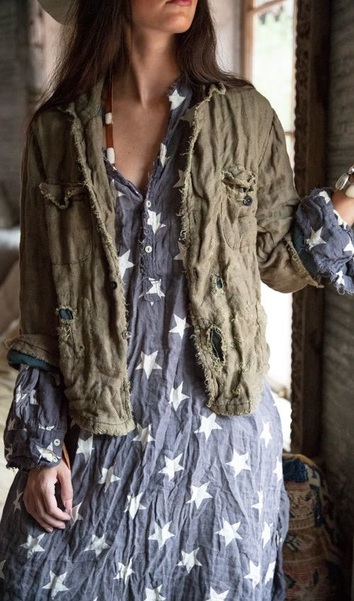 Woven Cotton Buffalo Soldier Jacket with Mending, Distressing and Patching, Magnolia Pearl