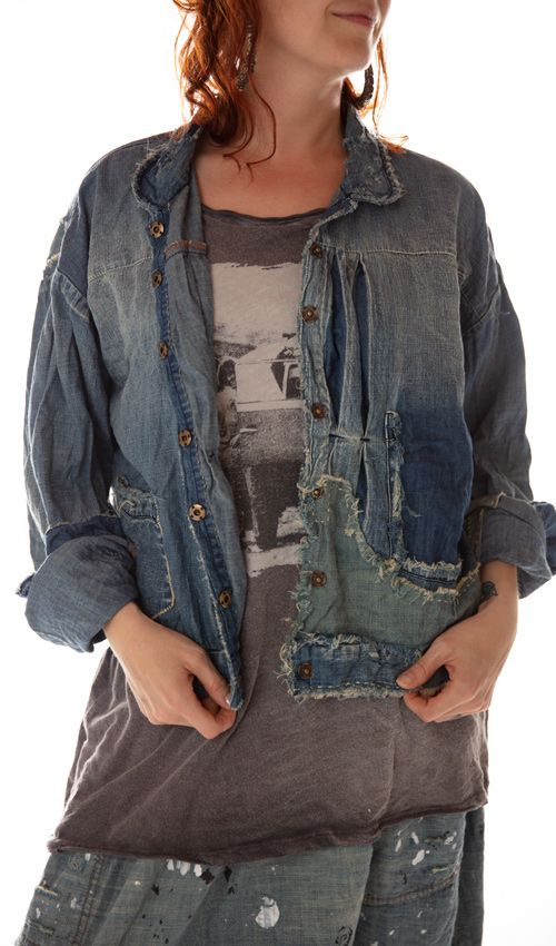Cotton Denim Tucker Jacket with Pintucks at Front, Distressing, Patching, Mending and Fading, Magnolia Pearl