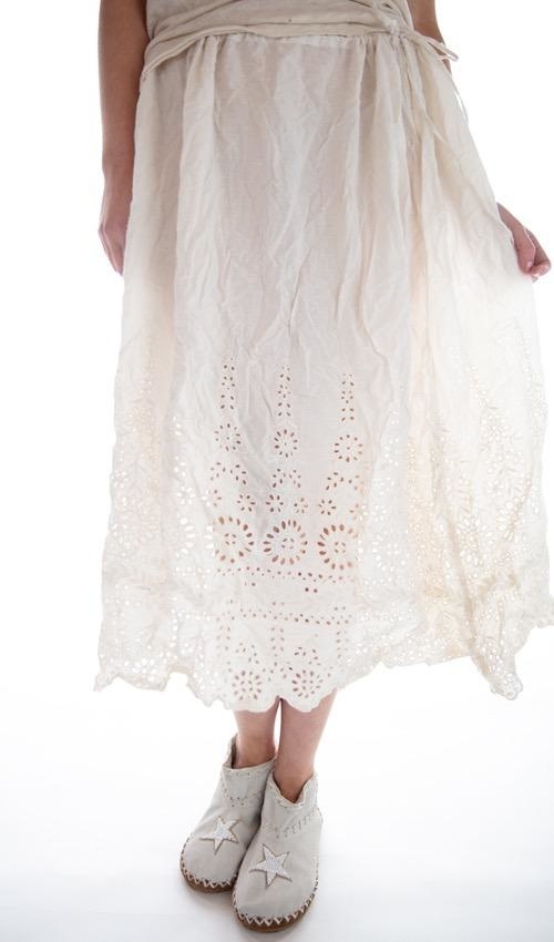 European Cotton You Are My Sunflower Eyelet Slip Skirt with Drawstring Waist, Magnolia Pearl
