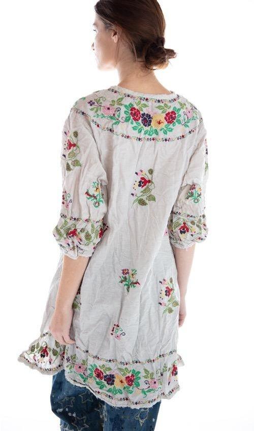 Cotton Linen Embroidered Mirella Shirt Dress, Magnolia Pearl