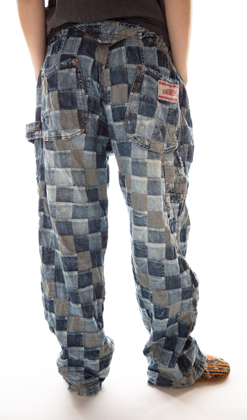 Cotton Patchwork Overall Jeans with Side Buttons, Distressing and Fading, Magnolia Pearl