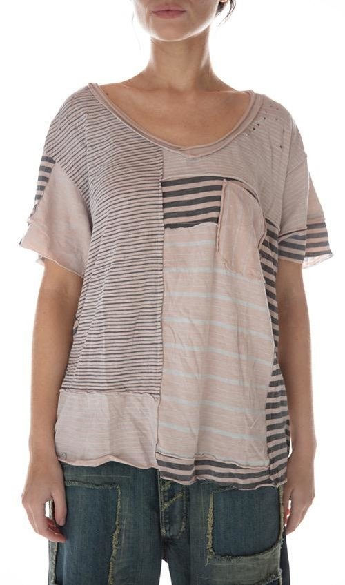 Cotton Jersey Patched Linear Short Sleeve Sofiane T with Pocket, Magnolia Pearl