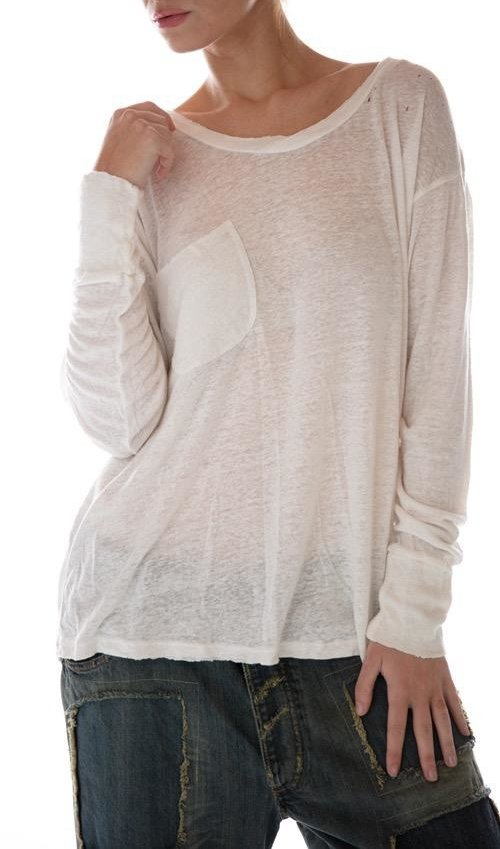 Cotton Linen Long Sleeve Sofiane T with Pocket, Magnolia Pearl