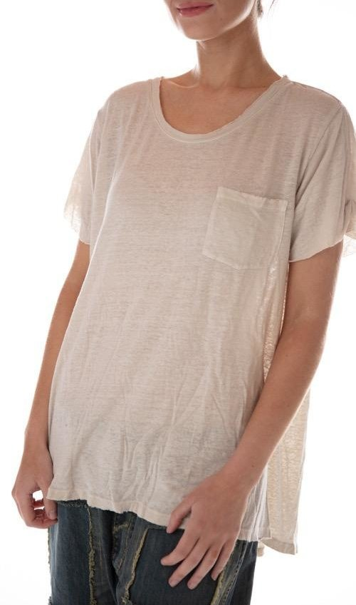 Cotton Linen Roll Cuff Pocket T, Magnolia Pearl