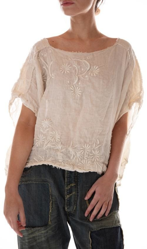 European Linen Scattered Flower Embroidered Cropped Blouse with MP Monogram and Raw Edges, Magnolia Pearl