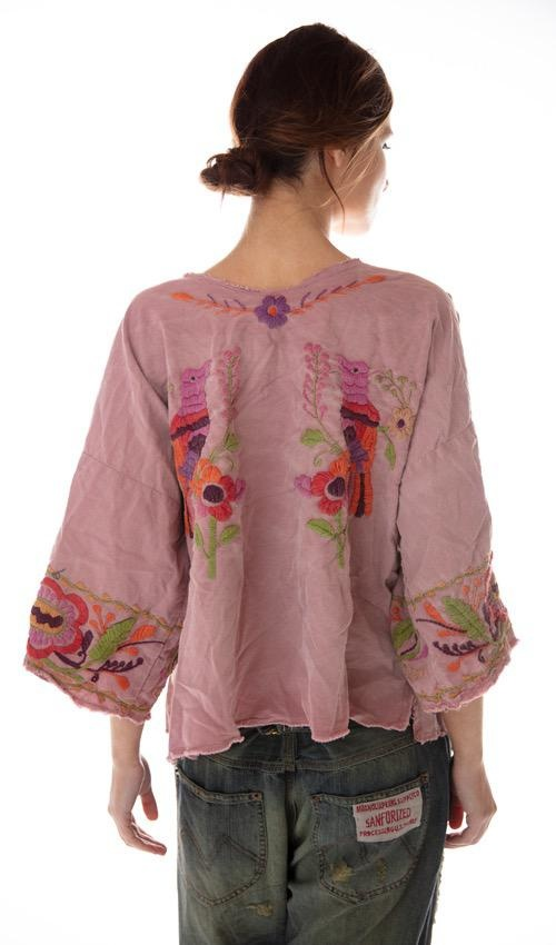 Woven Cotton Marguerite Hand Embroidered Blouse with Fading, Distressing and Raw Edges, Magnolia Pearl