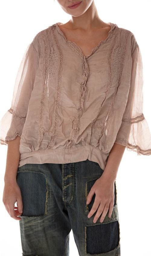 European Cotton Eyelet and Cotton Lace Maelee Blouse with Hand Sewn Antique Snaps and Hooks, Magnolia Pearl