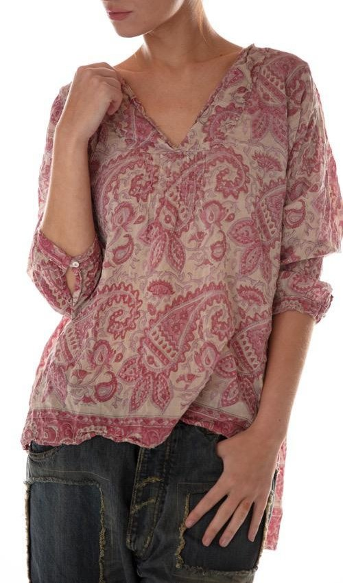 Cotton Silk Hand Block Print Bondi Blouse with Raw Neck, Pleats and Button Opening at Sleeves, Magnolia Pearl