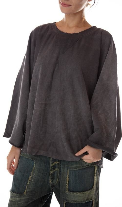 Cotton Knit Shilo Sweatshirt with Distressing and Fading, Magnolia Pearl