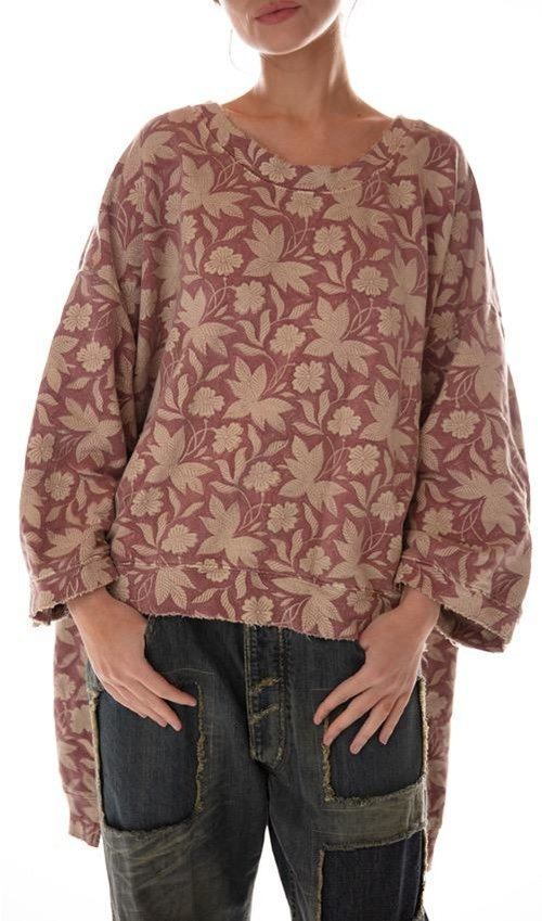 Cotton Knit Oversized Hi Lo Hand Block Print Francis Pullover with Distressing and Fading, Magnolia Pearl
