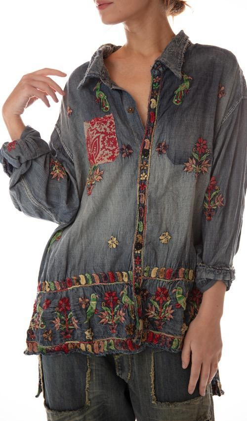 Cotton Denim Embroidered Adison Workshirt with Mixed Buttons, Distressing, Patching and Hand Mending, Magnolia Pearl