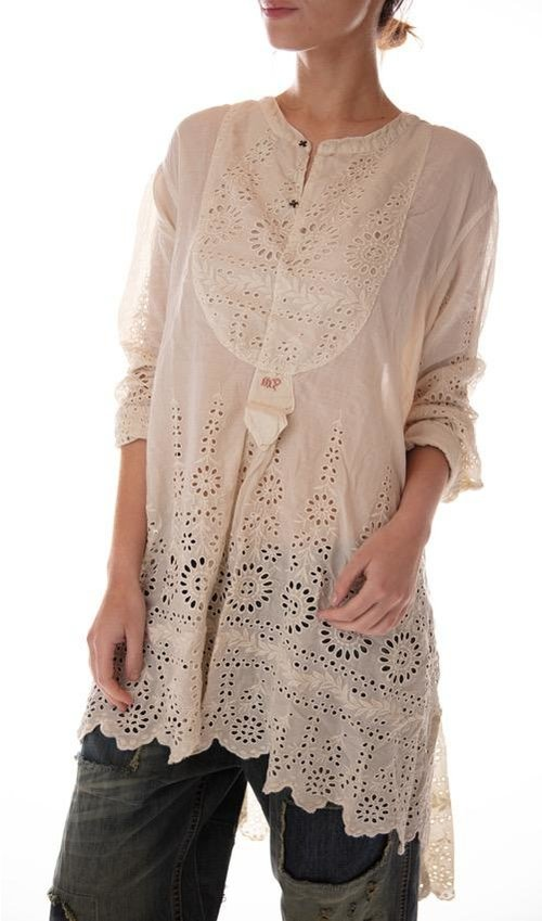 European Cotton Eyelet Ines Classic Shirt with MP Cross Stitch, Magnolia Pearl