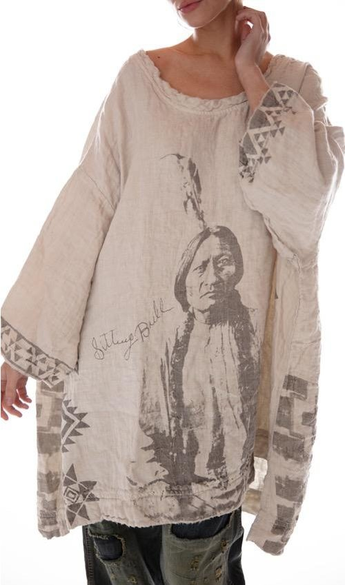 Quilted Oversized French Linen Sitting Bull Francis Pullover with Native American Graphics, Magnolia Pearl