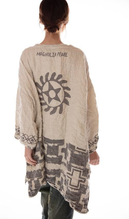 Quilted Oversized French Linen Francis Pullover with 1875 Native American Graphics, Magnolia Pearl