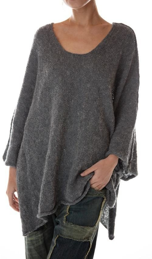 Handmade Oversized Poncho with Keyhole at Back, Magnolia Pearl
