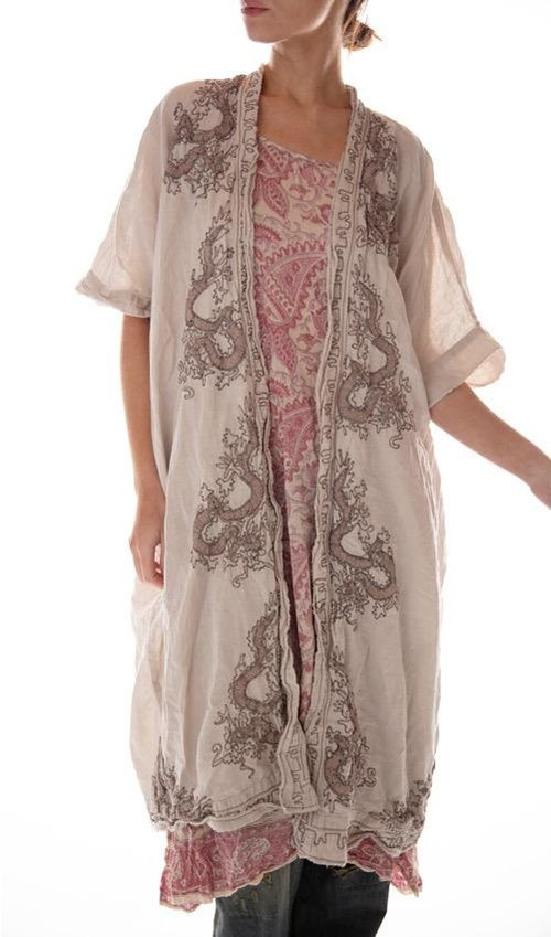 European Linen Dragon Embroidered Dashi Kimono with Fading and Distressing, Magnolia Pearl