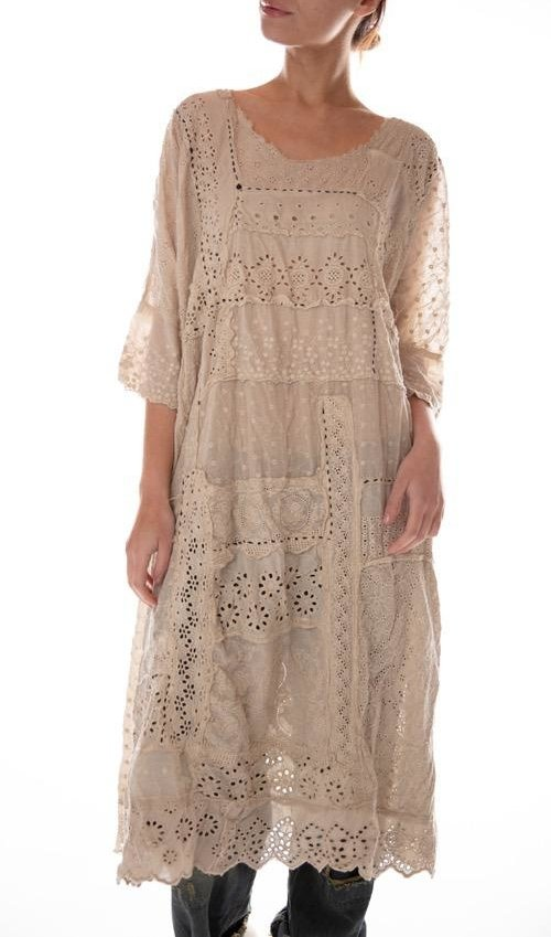 Cotton Eyelet Hand Patchwork Lilian Dress with Hand Stitching and Distressing, Magnolia Pearl