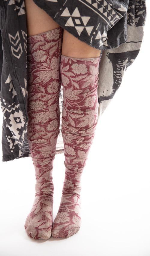 Cotton Jersey Hand Block Print Karolina Stockings with French Seam, Magnolia Pearl