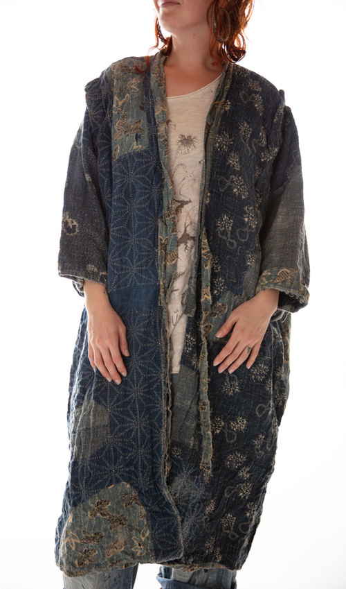 Linen Good Fortune Kimono with Hand Sewn Boro Inspired Indigo Patches, Distressing and Cotton Flannel Lining, Magnolia Pearl