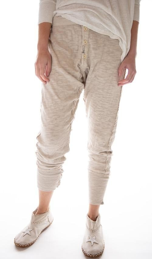 Cotton Jersey Whistlestop Underjohns with Drawstring Back, Button Fly, Adjustable Sides, Hand Stitched Patches and Mending, Magnolia Pearl