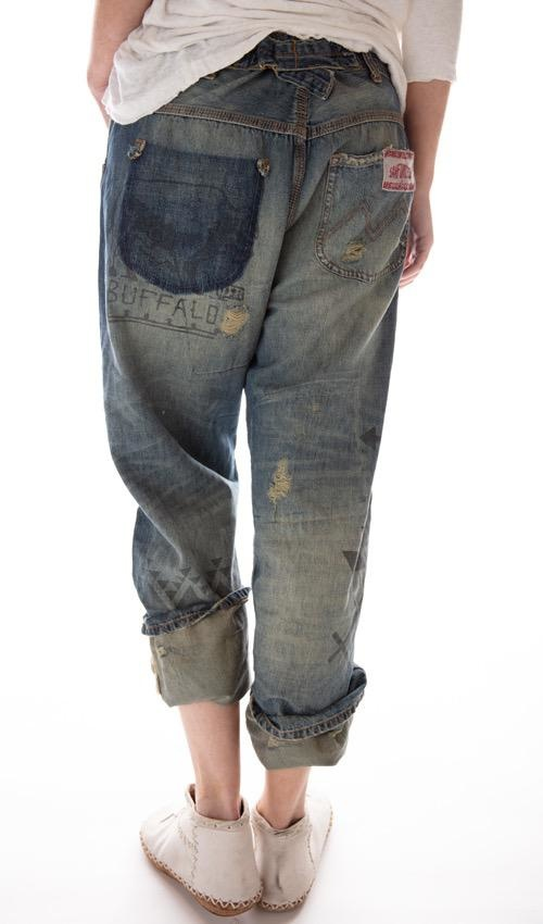 Cotton Denim Ranchero Jeans with Sitting Bull Grpahic Print, Fading, Distressing and Patching, Magnolia Pearl