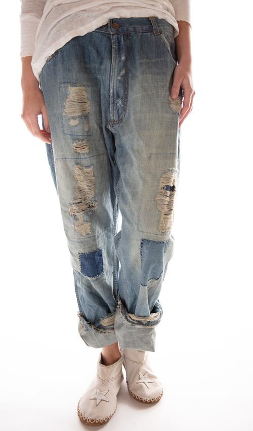 Cotton Denim Roe Jeans with Mending, Patching and Distressing, Zipper Front, Magnolia Pearl