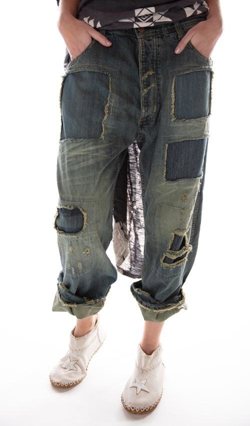 Cotton Denim Ranchero Jeans with Fading, Distressing and Patching, Magnolia Pearl