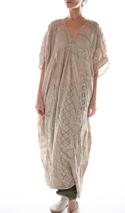 Cotton Eyelet Hand Patchwork Lilian Kaftan with Hand Stitching and Distressing, Magnolia Pearl