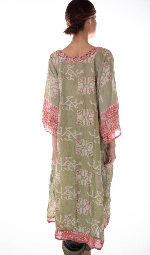 Cotton Silk Ikat Katja Dress with Fading and Distressing, Magnolia Pearl
