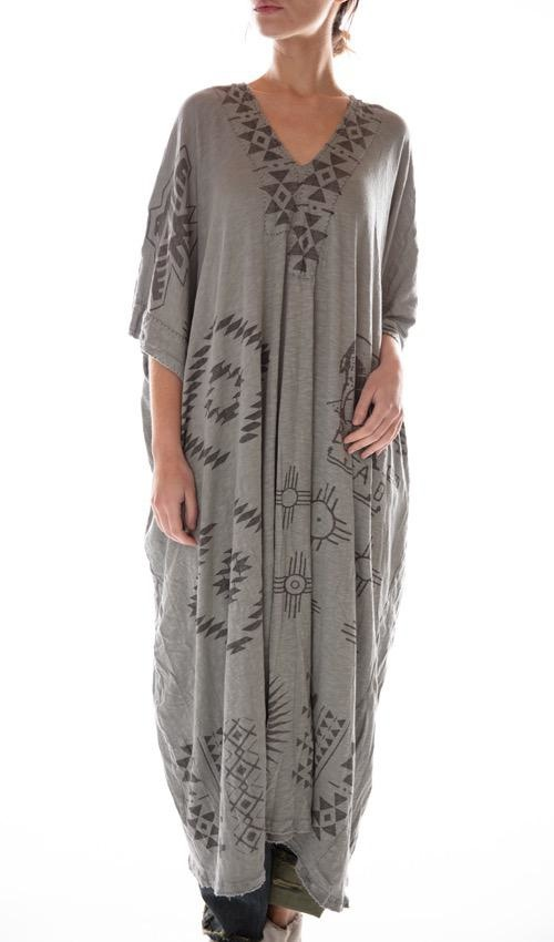Cotton Jersey Monarch SB Veda Kaftan with Distressing and Mending, Magnolia Pearl