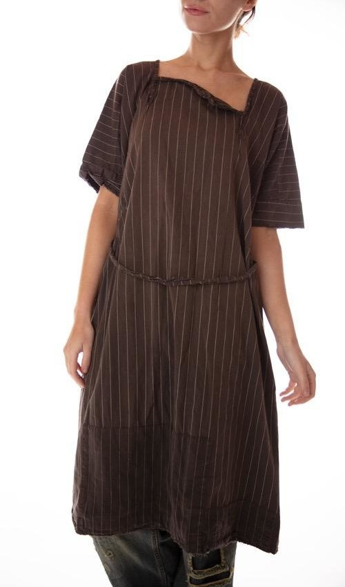 Fine Wool Sienna Stripe Smock Dress with Side Gathers, Accent Belt and Snaps At Neck, Patching, Distressing and Mending, Magnolia Pearl