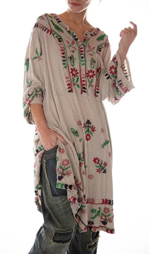 Cotton Jersey Hand Embroidered Mirella Dress with Snaps at Neck and Distressing, Magnolia Pearl